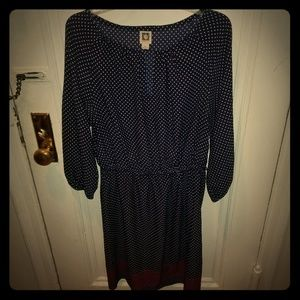 Anne Klein Long Sleeve Blue Polka Dot Dress